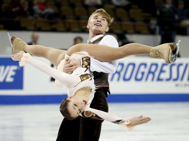 Kristina Astakhova and Alexei Rogonov of Russia perform during the pairs free skate program at the Skate America figure skating competition in Milwaukee, Wisconsin October 24, 2015. (Photo by Lucy Nicholson/Reuters)