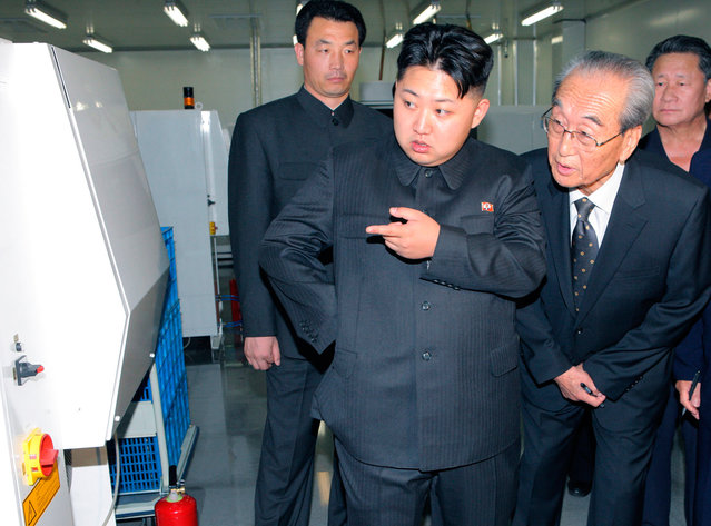 Kim Jong Un visits Mokran Video Company in Pyongyang in this undated picture released by the North's official KCNA news agency on September 11, 2011. KCNA did not state precisely when the picture was taken. (Photo by Reuters/KCNA)