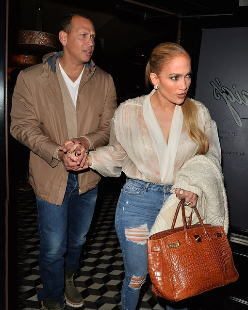 Jennifer Lopez and Alex Rodriguez Leave Craig's restaurant in Los Angeles, USA on March 8, 2018. (Photo by All Access Photo/Splash News and Pictures)