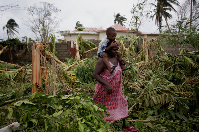 A woman carries a child walking between trees felled by Hurricane Matthew in Les Cayes, Haiti, October 6, 2016. (Photo by Andres Martinez Casares/Reuters)