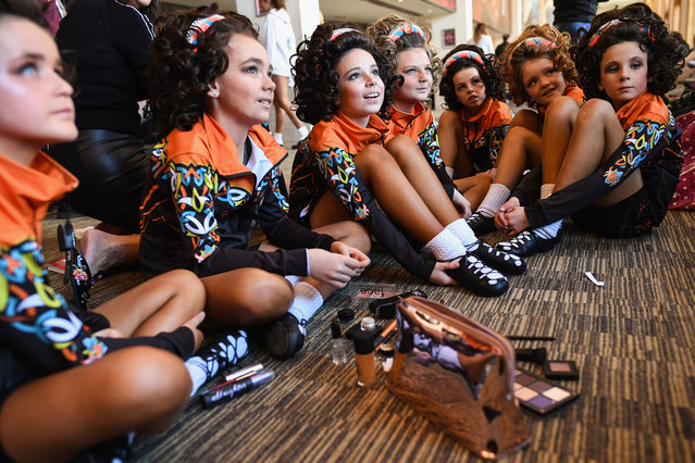 Dancers prepare to take part in the World Irish Dancing Championships on March 25, 2018 in Glasgow, Scotland. (Photo by Jeff J. Mitchell/Getty Images)