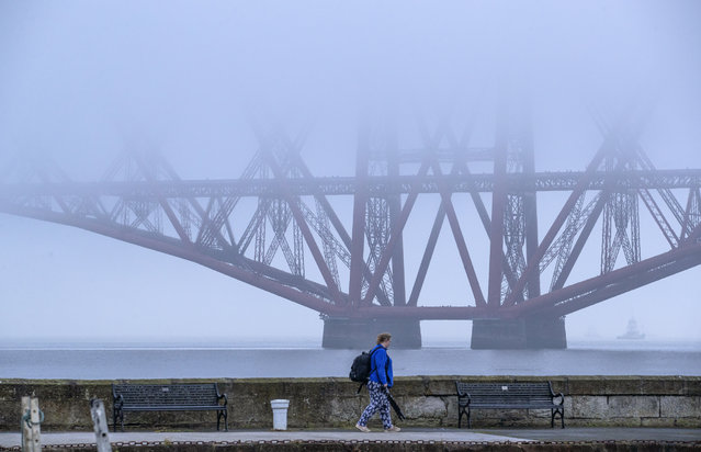 The Forth Bridge is covered by fog in the Firth of Forth, South Queensferry on November 8, 2020. (Photo by Jane Barlow/PA Images via Getty Images)
