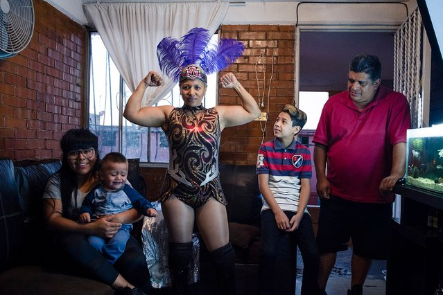 Mitzy at home with her family. (Photo by Diana Bagnoli/The Washington Post)