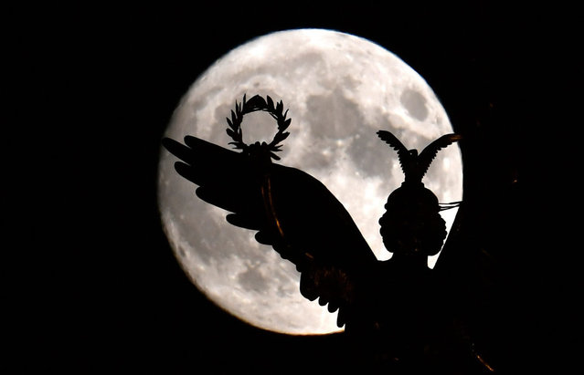 The figure of Viktoria with her laurel wreath on the victory column stands out against the full moon in Berlin, Germany, 13 November 2016. (Photo by Ralf Hirschberger/EPA)