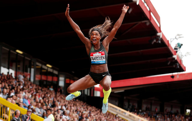 Colombia' s Caterine Ibarguen competes in the women' s long jump during the 2018 IAAF Birmingham Diamond League athletics meeting at Alexander Stadium in Birmingham on August 18, 2018. (Photo by Peter Cziborra/Action Images via Reuters)