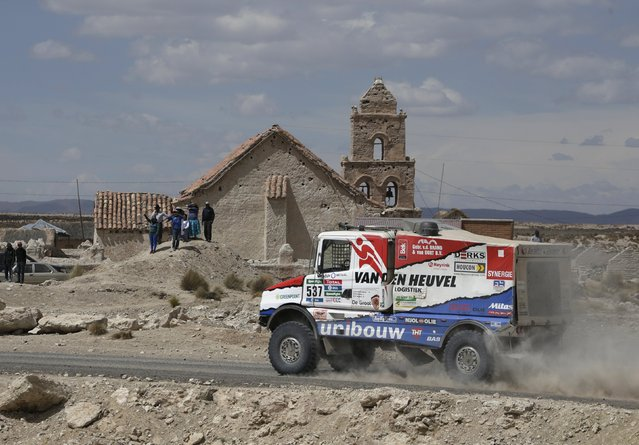 Maurik Van Den Heuvel of Netherlands drives his Scania truck during the Dakar Rally 2016 in Chulluquiani, Oruro Department Bolivia, January 8, 2016. (Photo by David Mercado/Reuters)