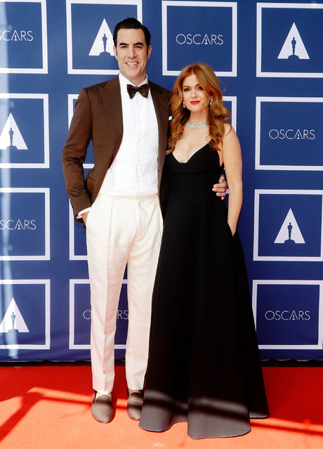 (L-R) Sacha Baron Cohen and Isla Fisher attend a screening of the Oscars on April 26, 2021 in Sydney, Australia. (Photo by Rick Rycroft-Pool/Getty Images)