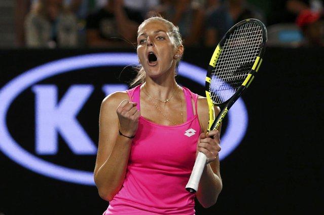 Czech Republic's Kristyna Pliskova reacts after winning her first round match against Australia's Samantha Stosur at the Australian Open tennis tournament at Melbourne Park, Australia, January 18, 2016. (Photo by Jason O'Brien/Reuters)
