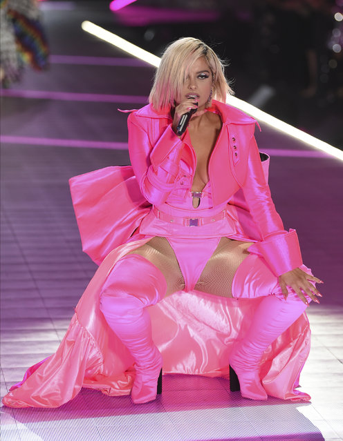 Bebe Rexha performs during the 2018 Victoria's Secret Fashion Show at Pier 94 on Thursday, November 8, 2018, in New York. (Photo by Evan Agostini/Invision/AP Photo)