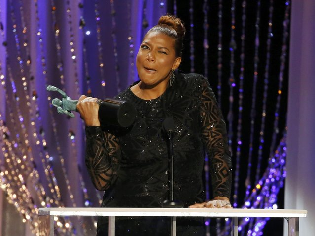 """Queen Latifah accepts the award for Outstanding Performance by a Female Actor in a Television Movie or Miniseries for her role in """"Bessie"""" at the 22nd Screen Actors Guild Awards in Los Angeles, California January 30, 2016. (Photo by Lucy Nicholson/Reuters)"""
