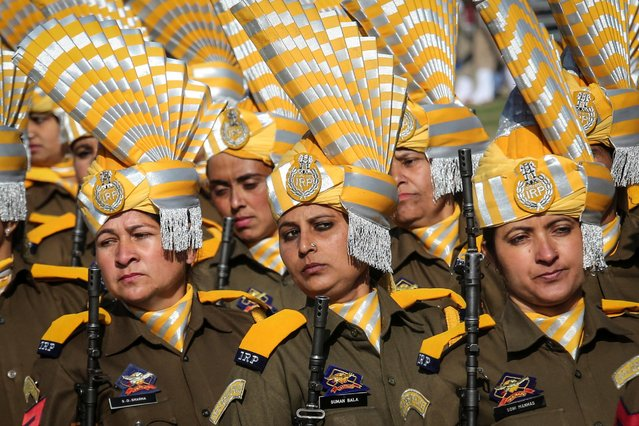 Police women march during Republic Day celebrations in Jammu, January 26, 2019. (Photo by Mukesh Gupta/Reuters)