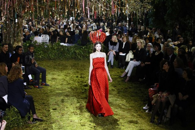 A model wears a creation for Christian Dior's Haute Couture Spring-Summer 2017 fashion collection presented in Paris, Monday, January 23, 2017. (Photo by Francois Mori/AP Photo)