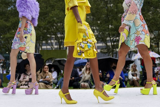 The Moschino collection is modeled during New York Fashion Week, Thursday, September 9, 2021. (Photo by Mary Altaffer/AP Photo)