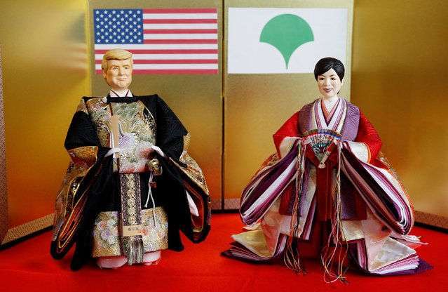 Japanese doll-maker Kyugetsu Inc's dolls depicting U.S. President Donald Trump (L) and Tokyo Governor Yuriko Koike, as part of a traditional set of Japanese ornamental hina dolls used in Japan to celebrate Girls' Day, are pictured at the company's main shop in Tokyo, Japan, January 26, 2017. (Photo by Toru Hanai/Reuters)