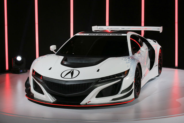 The 2017 Acura NSX GT3 is seen during the 2016 New York International Auto Show media preview in Manhattan, New York on March 23, 2016. (Photo by Brendan McDermid/Reuters)