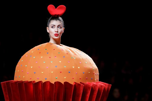 A model walks the runway at the Agatha Ruiz de La Prada show during the Mercedes-Benz Madrid Fashion Week Autumn/Winter 2017 at Ifema on February 17, 2017 in Madrid, Spain. (Photo by Pablo Cuadra/Getty Images)