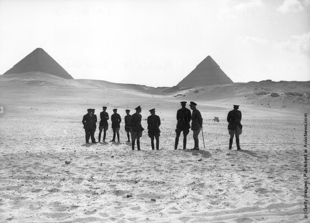 1934: General Sir J. Burnett-Stuart and Lt. Col. Pope at the pyramids prior to inspecting the King's Hussars