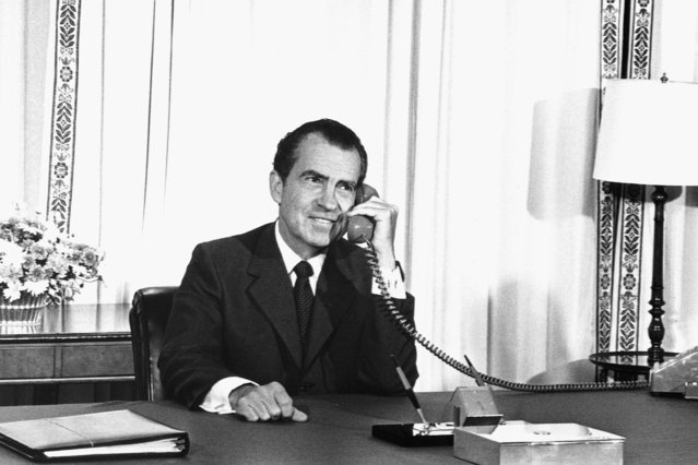 President Richard Nixon speaks to astronauts on the Moon on July 20, 1969. Richard Milhous Nixon was the 37th U.S. President serving from 1969 – 1974. (Photo by Corbis)