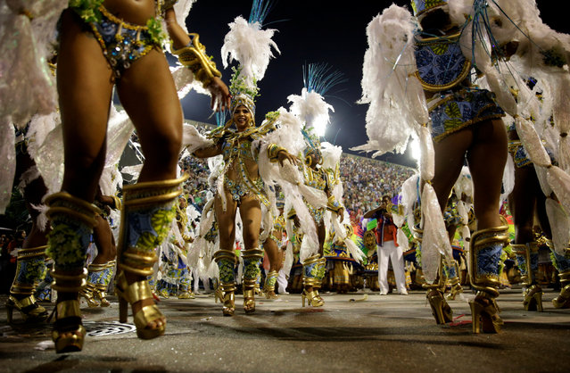 Revellers from Uniao da Ilha samba school perform during the second night of the carnival parade at the Sambadrome in Rio de Janeiro, Brazil February 27, 2017. (Photo by Ricardo Moraes/Reuters)