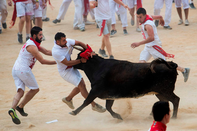 A reveller is tossed by a heifer bull during the first bullrun of the San Fermin festival in Pamplona, northern Spain on July 7, 2019. On each day of the festival six bulls are released at 8:00 a.m. (0600 GMT) to run from their corral through the narrow, cobbled streets of the old town over an 850-meter (yard) course. Ahead of them are the runners, who try to stay close to the bulls without falling over or being gored. (Photo by Jaime Reina/AFP Photo)