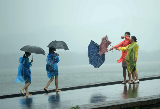 Tourists take photos of their overturned umbrellas at West Lake in Hangzhou in eastern China's Zhejiang province Saturday, July 11, 2015. Typhoon Chan-hom hit the Chinese coast south of Shanghai on Saturday. Some 1.1 million people were evacuated from coastal areas of Zhejiang and more than 46,000 in neighboring Jiangsu province ahead of the storm, the official Xinhua News Agency reported. (Photo by Chinatopix via AP Photo)