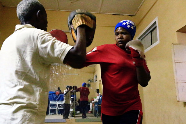 Sahar Mohamed Al Dooma, 26, practises boxing at Al Rabie club in Omdurman May 10,2016. (Photo by Mohamed Nureldin Abdallah/Reuters)