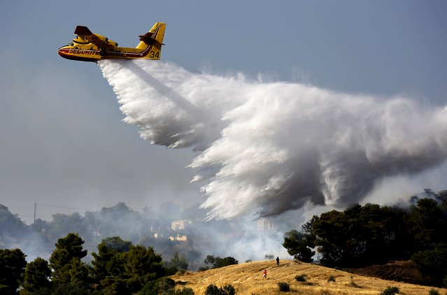 Locals watch as a firefighting plane drops water over a fire near holiday homes in Costa village in the Argolida region, in Southeastern Greece during a developing wild fire, July 20, 2015. (Photo by Yannis Behrakis/Reuters)