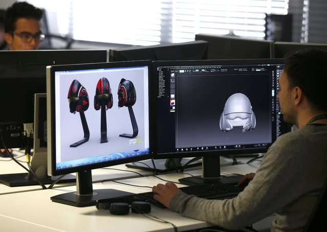 "Images of Poe Dameron's helmet from ""Star Wars: The Force Awakens"", are displayed on a computer screen in the Propshop headquarters at Pinewood Studios near London, Britain May 25, 2016. (Photo by Peter Nicholls/Reuters)"