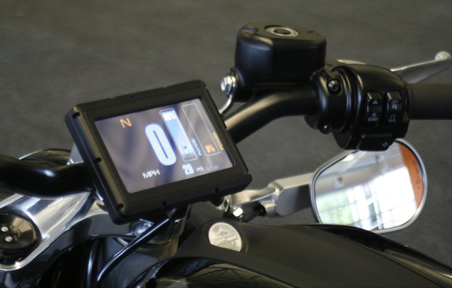 This Wednesday, June 18, 2014 photo shows the control screen on Harley-Davidson's new electric motorcycle, at the company's research facility in Wauwatosa, Wis. The company plans to unveil the LiveWire model Monday, June 23, at an invitation-only event in New York. (Photo by M. L. Johnson/AP Photo)