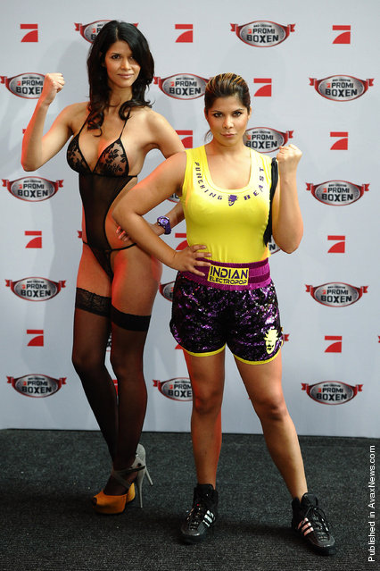 Micaela Schaefer and Indira Weis attend the Celebrity Boxing Press Conference