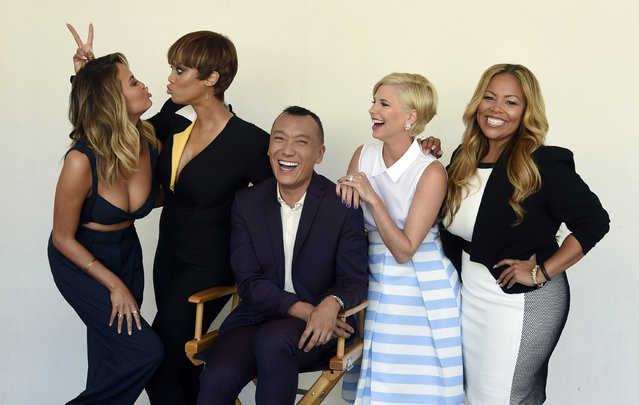 "Chrissy Teigen, from left, Tyra Banks, Joe Zee, Leah Ashley and Lauren Makk, hosts of the lifestyle talk show ""FABLife"", share a laugh during a portrait shoot at the 2015 Television Critics Association Summer Press Tour at the Beverly Hilton on Tuesday, August 4, 2015, in Beverly Hills, Calif. (Photo by Chris Pizzello/Invision/AP Photo)"