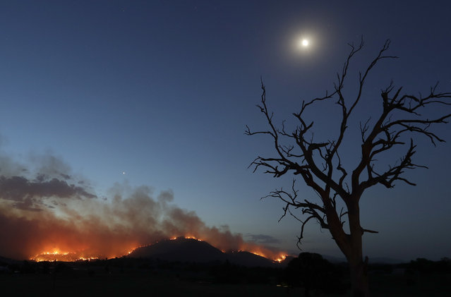 A wildfire threatening property glows at dusk near Clear Range, south of the Australian capital, Canberra, Friday, January 31, 2020. The threat is posed by a blaze on Canberra's southern fringe that has razed more than 21,500 hectares (53,000 acres) since it was sparked by heat from a military helicopter landing light on Monday, the Emergency Services Agency said. (Photo by Rick Rycroft/AP Photo)
