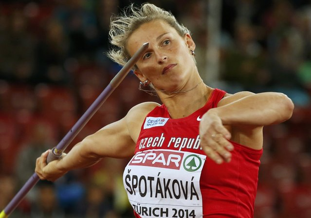 Barbora Spotakova of Czech Republic competes in the women's javelin throw final during the European Athletics Championships at the Letzigrund Stadium in Zurich August 14, 2014. (Photo by Phil Noble/Reuters)