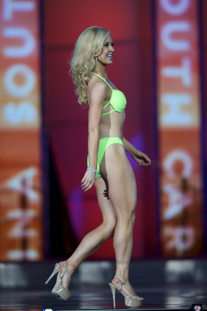 Miss New Mexico Marissa Livingston competes in the swimsuit competition during the first night of preliminaries of Miss America at Boardwalk Hall in Atlantic City, New Jersey, September 8, 2015. (Photo by Mark Makela/Reuters)
