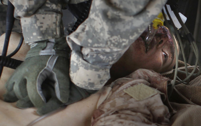 A U.S. Army medevac crew member attempts to revive a Marine mortally wounded in an IED (improvised explosion device) blast near the town of Marjah in Helmand province in this picture taken August 22, 2010. (Photo by Bob Strong/Reuters)