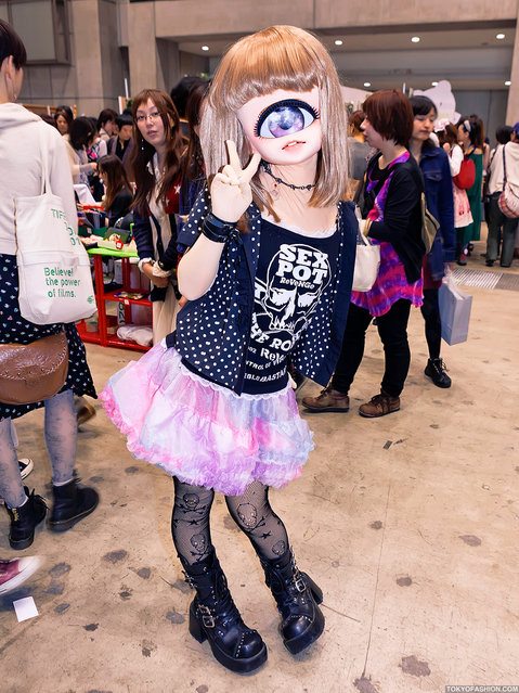 Cute Japanese Cyclops Girl. A cute & stylish Japanese cyclops that I ran into at Design Festa in Tokyo. She's wearing a t-shirt from the Harajuku brand s*x Pot Revenge, a tulle skirt, skull fishnets & platform boots. (Tokyo Fashion)
