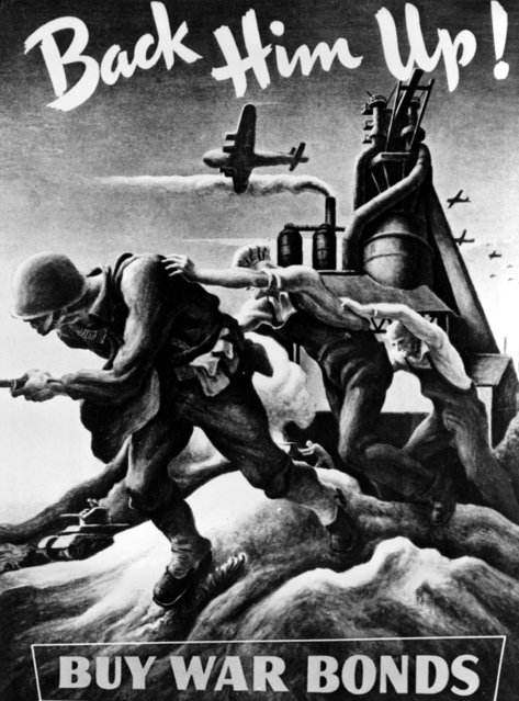 "Thomas Hart Benton painted this war bond poster for the U.S. government to support the war effort. Soon after Pearl Harbor, Benton began a series of paintings entitled ""Year of Peril"", dedicated to awakening American people to the realization of what war meant. (Photo by Associated Press)"