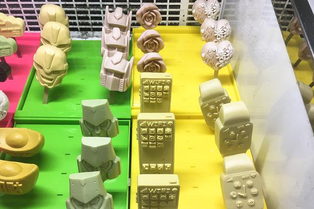 Shanghai debuts 3D printed ice cream, in China on August 31, 2016. (Photo by Wang Gang/ZUMA Press/Splash News)