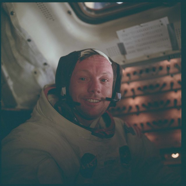 Astronaut Neil A. Armstrong, Apollo 11 commander, is pictured inside the Lunar Module (LM) while the LM rested on the lunar surface during the Apollo 11 mission in this July 20, 1969 NASA handout photo. (Photo by Reuters/NASA)