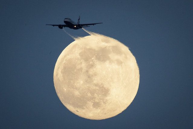 A plane flies in front of the moon as seen from Richmond Park in London, Saturday February 8, 2020. (Photo by Aaron Chown/PA Wire Press Association via AP Photo)