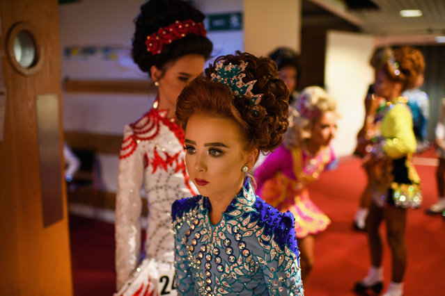 Competitors gather backstage as they prepare to take part in the World Irish Dancing Championships on March 25, 2018 in Glasgow, Scotland. (Photo by Jeff J. Mitchell/Getty Images)