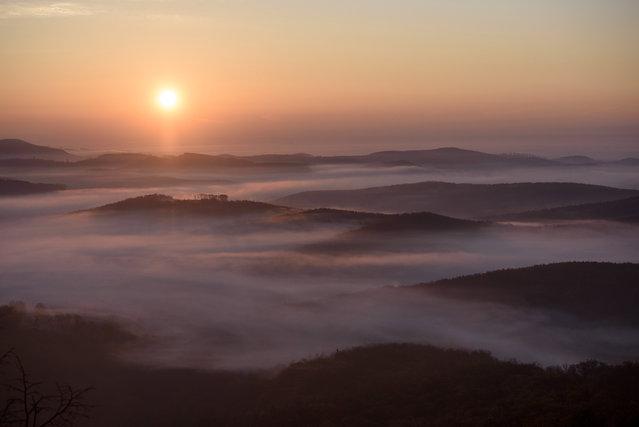 Early morning fog covers the landscape near Salgotarjan, Hungary, 10 November 2020. (Photo by Peter Komka/EPA/EFE)