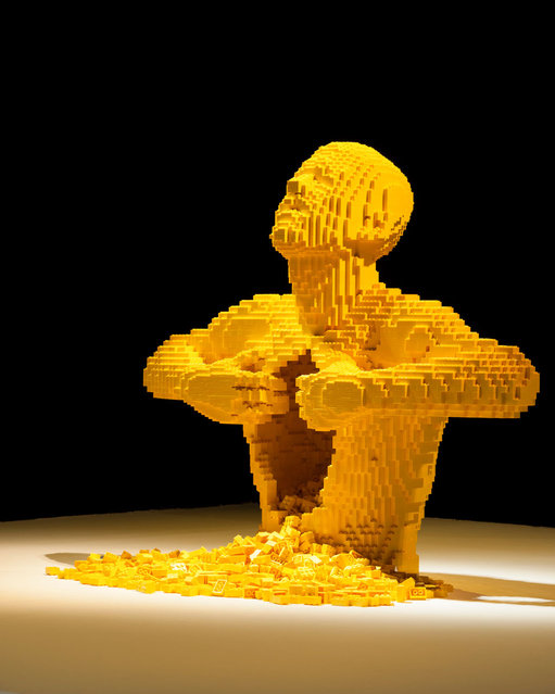 """A man ripping open his torso"". (Photo by Nathan Sawaya/The Art of the Brick)"