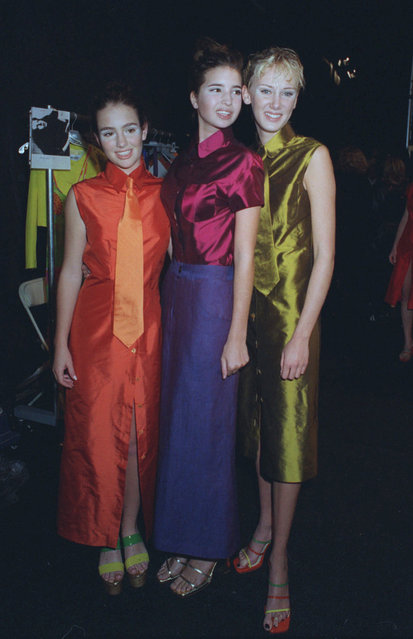 Models Jillian Hearst Shaw, left, Ivanka Trump, center and Kimberly Stewart pose backstage at Enrico Coveri's fashion show in New York November 1, 1996. Jillian is the daughter of Patricia Hearst Shaw, Ivanka is the daughter of Ivana Trump and her ex-husband Donald Trump, and Kimberly is the daughter of rock singer Rod Stewart. (Photo by Chrystyna Czajowsky/AP Photo)