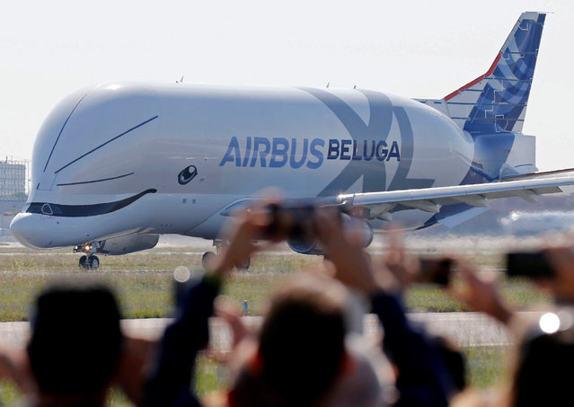 An Airbus Beluga XL transport plane prepares to take off during its first flight event in Colomiers near Toulouse, France, July 19, 2018. (Photo by Regis Duvignau/Reuters)