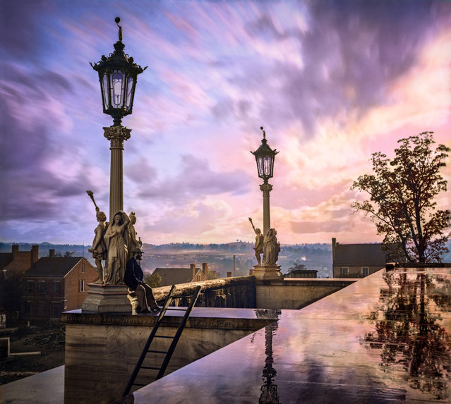 View from Capitol in Nashville, Tennessee, during the Civil War, 1864. Colorized by Sanna Dullaway.