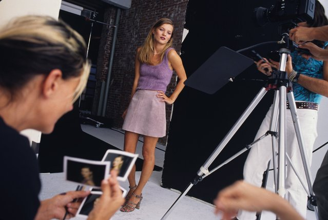 "British Supermodel Kate Moss during a fashion shoot for ""You"" magazine at a photo studio in 1995 in New York City, New York. (Photo by Catherine McGann/Getty Images)"