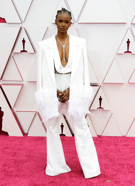 Tiara Thomas attends the 93rd Annual Academy Awards at Union Station on April 25, 2021 in Los Angeles, California. (Photo by Chris Pizzelo-Pool/Getty Images)