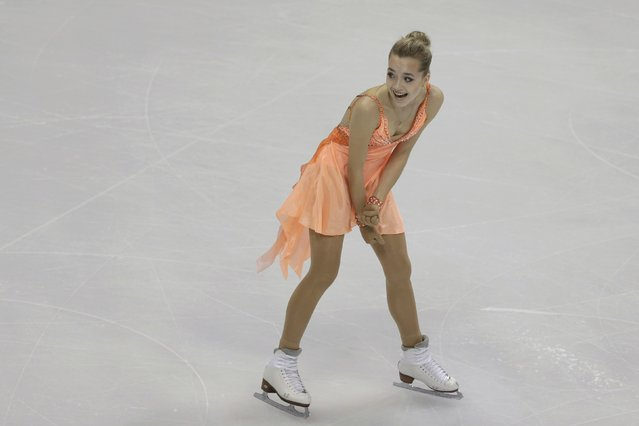 Elena Radionova of Russia reacts after performing in the ladies short program at the ISU European Figure Skating Championship in Bratislava, Slovakia, January 27, 2016. (Photo by David W. Cerny/Reuters)
