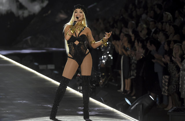 Rita Ora performs during the 2018 Victoria's Secret Fashion Show at Pier 94 on Thursday, November 8, 2018, in New York. (Photo by Evan Agostini/Invision/AP Photo)